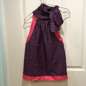 Pink and navy design blouse